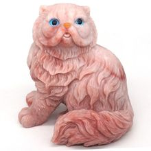 4.7 Persian Cat Statue Natural Gemstone Pink Opalite Crystal Carved Home Decor