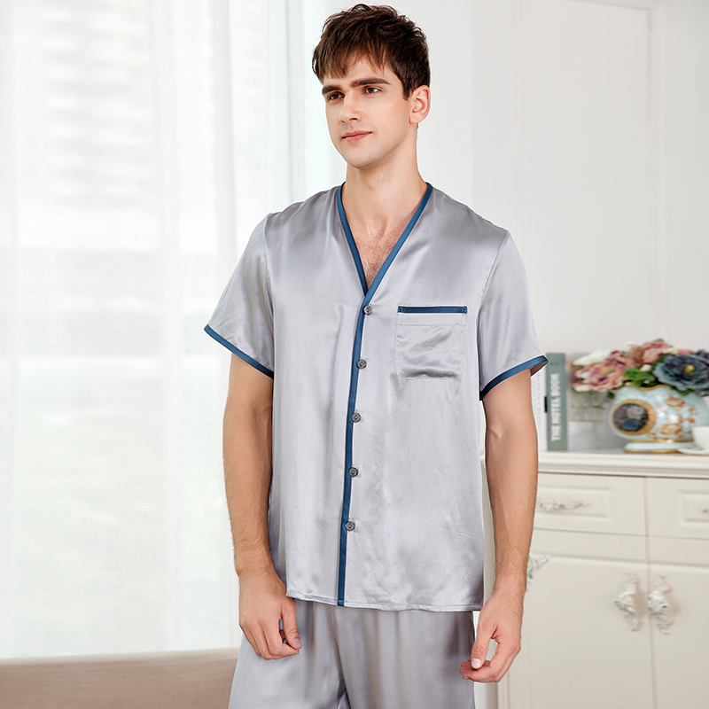 100 Silk Stain Men s Pajamas sets2017 spring autumn short sleeve Male Pajama Pants Sets summer