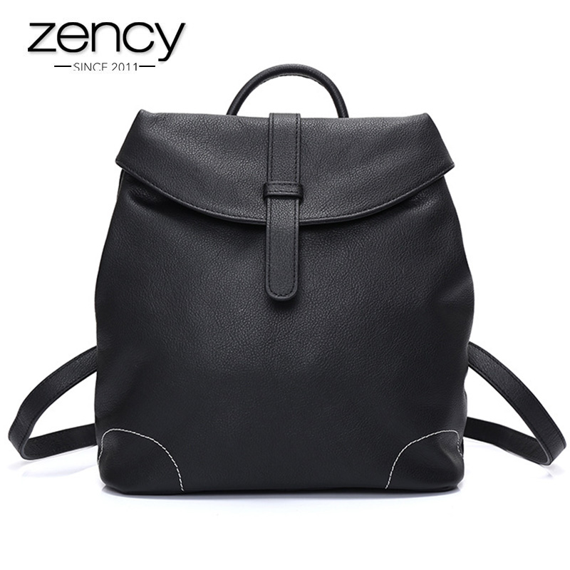 Autumn Women Genuine Leather backpack Fashion Zipper Cover Classic Style Black Bag Anti-theft Design Lady Travel Shoulder Bags women backpack fashion pvc faux leather turtle backpack leather bag women traveling antitheft backpack black white free shipping