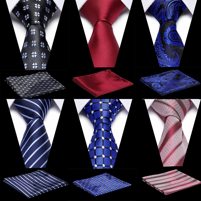 Men Blue Plaid Bussiness 100% Silk Tie & Handkerchief Set For Formal Bussiness Party