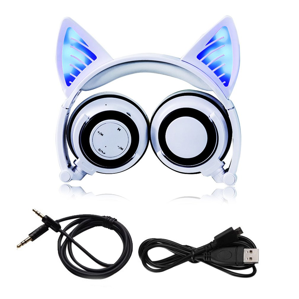 Foldable Cosplay Cat Ear Bluetooth Headphone Wireless Wire Universal Stereo Headset LED Light Flashing Earphone With Mic archeer ah07 bluetooth foldable headphone wireless stereo headphone with mic soft ear cups adjustable headset 100