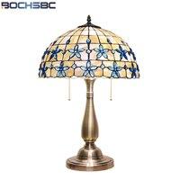 BOCHSBC European Blue Beads Table Lights Lilac Shell Desk Lamp Mediterranean Decoration Light for Bedroom Study Room Lampara