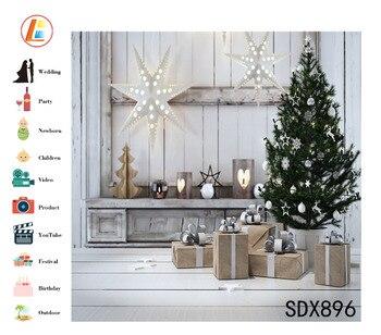 Telón De Fondo De Vinilo Blanco | LB Poliéster Y Vinilo árbol De Navidad Regalos Blanco Hexagonal Luces Decorativas Niños Fotografía Fondo Estudio De Fondo