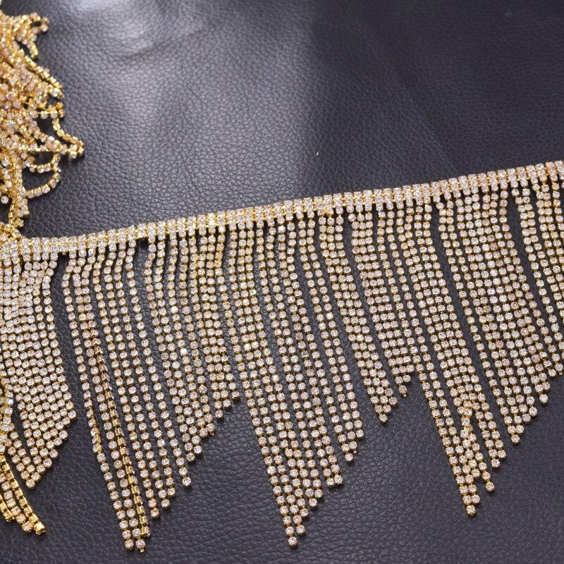 Rhinestone trims fingle trimming for wedding dress belt appliques (1).  Product information  Tassel fringe crystal rhinestone applique for clothing 52509dc383f0