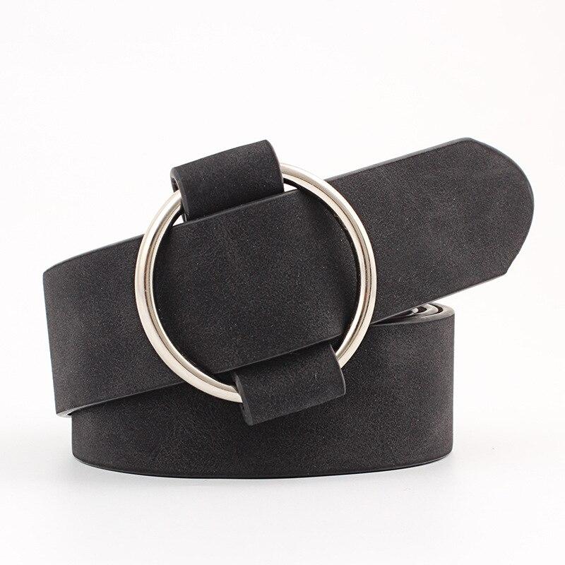 Модный классический круглый ремень с пряжкой, Женский широкий ремень, дизайн, высокое качество, Женские повседневные кожаные ремни для джинсов kemer - Цвет: Style 2 Black