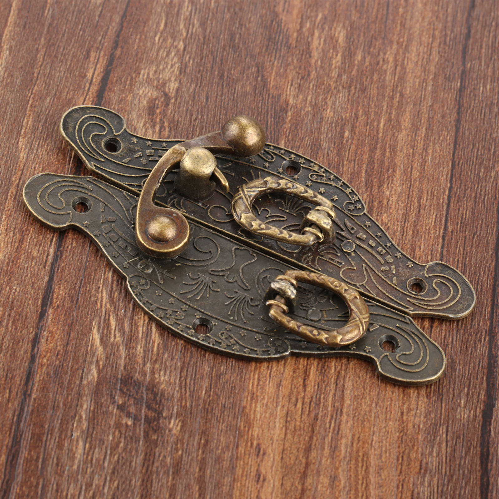 1PC Antique Box Latch Hasp Vintage Wooden Gift Box Toggle Lock Alloy Buckle Latch Hook Furniture Hardware Zinc Alloy 90*50mm