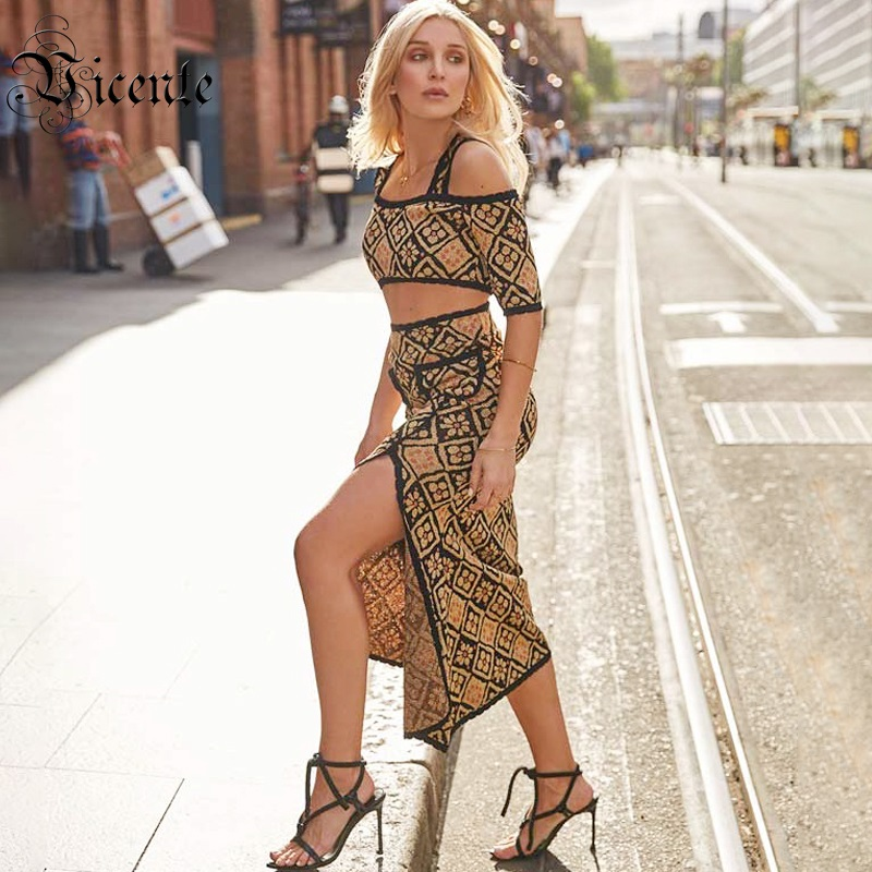 Vicente HOT Chic Jacquard Spagehtti Strap Dress Suit Two Pieces Sleeves Celebrity Party Dress Set