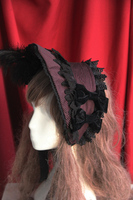 Deep Purple Victorian Era Bonnet Gothic Lolita Headdress Head Wear