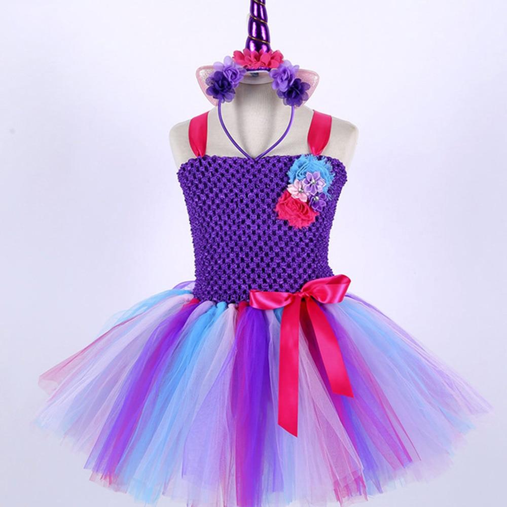 Candy Little Kids Pony Girls Clothing Teenage Unicorn Birthday Dress Knee Length Sleeveless Toddler Christmas Dress Tutu Robe 14 (2)