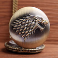 Vintage Bronze Quartz Pocket Watch Direwolf Game Of Thrones House Strak Winter is Coming Design Men Women FOB Chain Watch Gifts