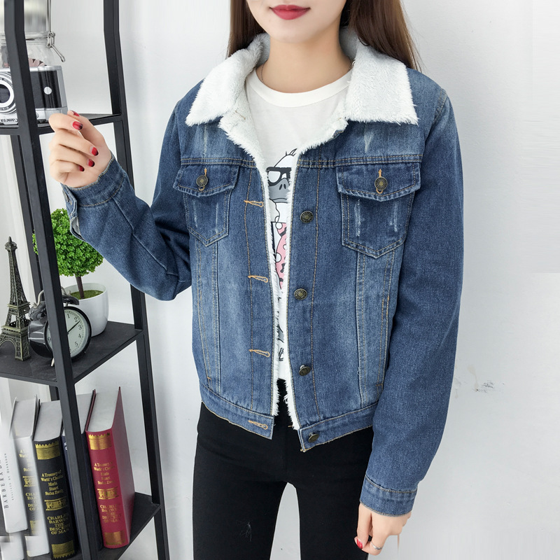 HTB1YmYWQwHqK1RjSZFEq6AGMXXaD 2019 New Women lambswool jean Coat Spring Autumn Winter Long Sleeves Warm Jeans Coat With 4 Pockets Outwear Wide Denim Jacket Y