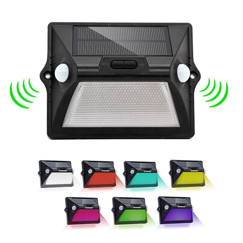 Solar Light Outdoor Motion Sensor Dual PIR Solar LED Powered Sensor Wall Lamp RGBW LED Waterproof Solar Garden Light