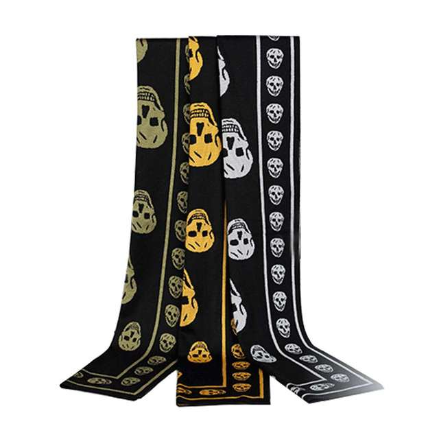 New Arrivals Fashion Autumn Winter Wool Blended Skeleton Head Pattern Thicken Long Scarf Warm Woman Shawl 180*30CM 2016 Hot Sale