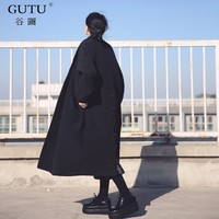 GUTU 2017 Korean European Highest Quality Jacket Autumn Women Big Brand Long Loose Black Windbreaker