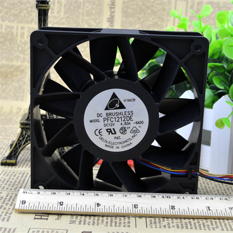 Computer Water Cooling Fan Delta PFC1212DE 12038 12V 3A 12CM Strong Breeze Big Air Volume Violent Fan new original delta 12cm tha1248be 12038 48v 2 6a cooling fan