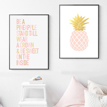 Pineapple Canvas Art Print Painting Poster Pink Paintings For Living Room Wall Pictures Quotes Unframed