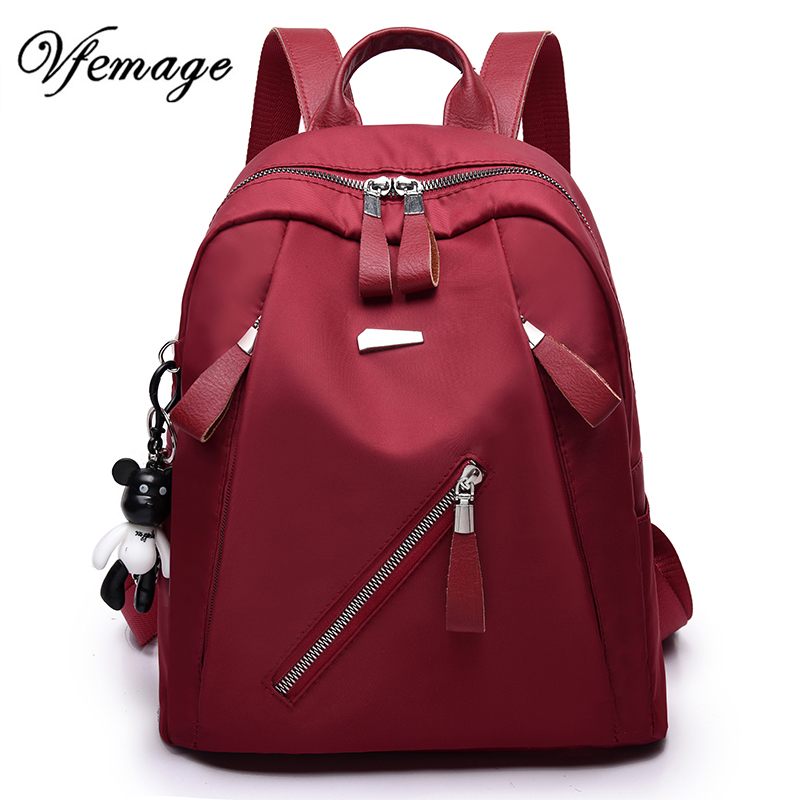 Vfemage Luxury New Backpacks Women Nylon Backpack Fashion Backpack For Teenager Girls Multi-pocket Bagpack Women School Bags Sac