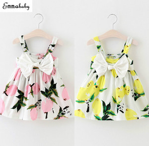 Emmababy Sundress Newborn Baby Dress Girls Lemon Print Dresses Summer Infant 0-3Year Girl Birthday Dress Holiday Clothing(China)
