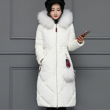 цена на New Women Winter Long Duck Down jacket Female Thickening Warm Clothes Fur Collar Slim Plus Size