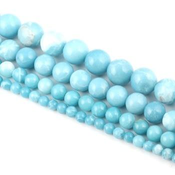 Grosir Desainer Perhiasan Batu Beads4/6/8/10/12 Mm Round Bola DIY Manik-manik hasil Natural Larimar Manik-manik Batu