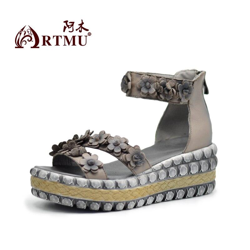 Artmu 원래 빈티지 꽃 두꺼운 바닥 웨지 발 뒤꿈치 여성 샌들 플랫폼 수제 가죽 신발 1868-에서하이힐부터 신발 의  그룹 2