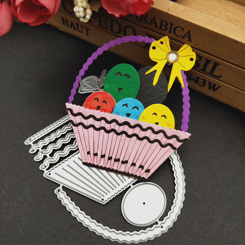 HamyHo Metal Cutting Dies Weave Shell Basket Dies Cut Scrapbooking Stamping Dies Album Card Photo Decorate Craft 2018 New