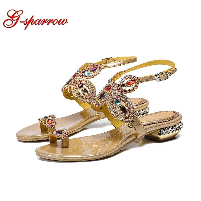 2019 letnie sandały pani Rhinestone płaskie obcasy moda paski z tyłu płaskie sandały letnie buty sukienka złoty kolor czarny rozmiar 11 w Sandały damskie od Buty na  Grupa 1
