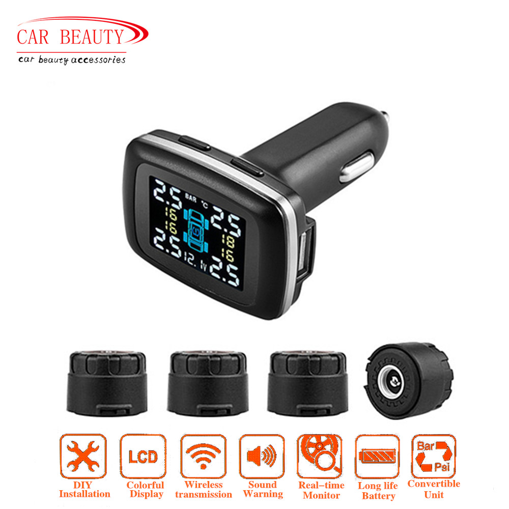 Smart Car Tpms Tyre Pressure Monitoring System 4 External Sensors Bosch 3phase Charging Diode Board Wiring Harness Cigarette Lighter Usb Port Voltage Display