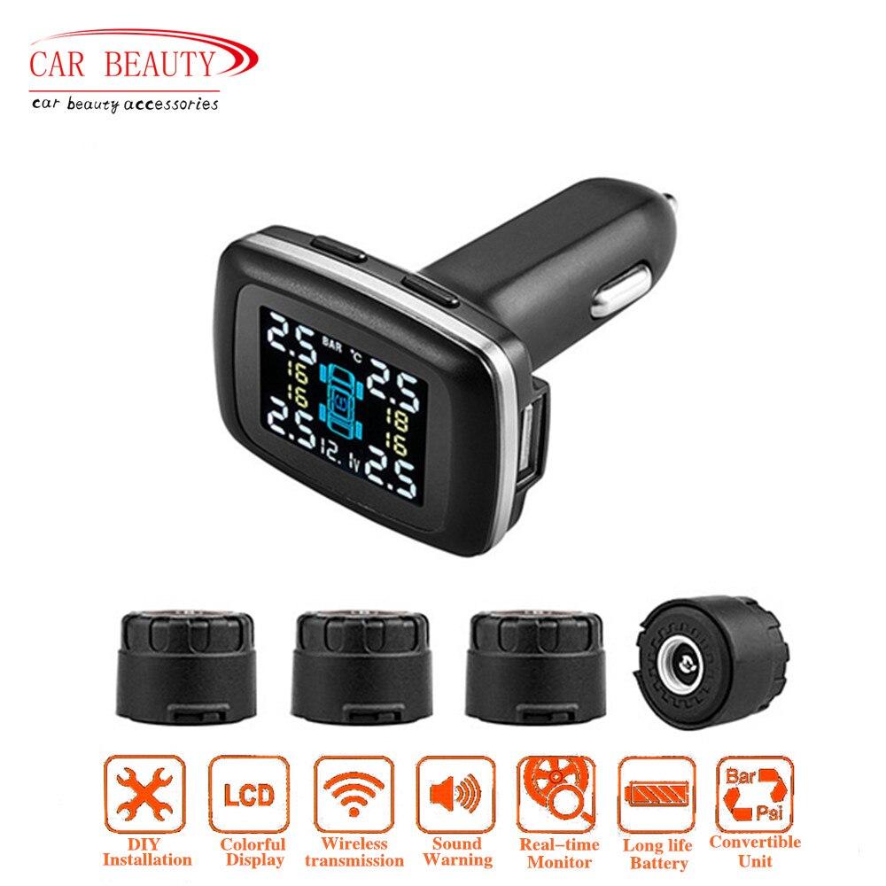 Smart Voiture TPMS Système de Surveillance de Pression des Pneus + 4 Capteurs Externes Allume-cigare + USB port de Charge + Affichage de la Tension