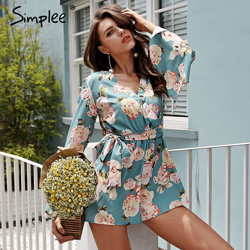 273ffe687dae Simplee Boho floral print rompers womens jumpsuit Sexy v neck flare long  sleeve playsuit High waist sash summer beach macacao