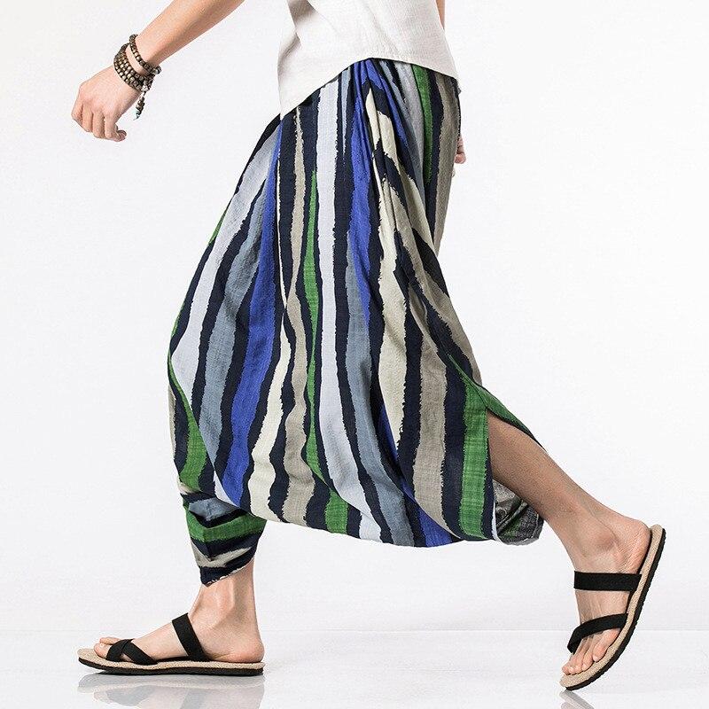 Men's Striped Big Crotch Casual Cross-pants 1