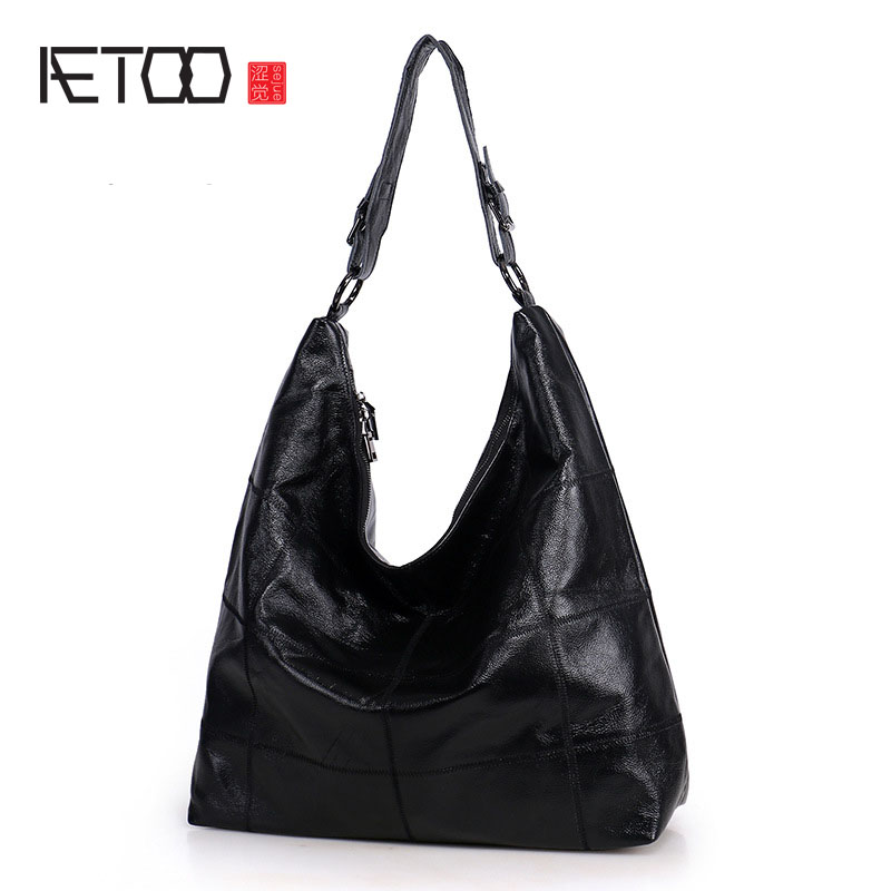 AETOO The new simple shoulder bag diagonal across the package large capacity of the first layer of leather leather handbags aetoo boston first layer of leather ladies handbag bag fashion simple simple large capacity handbags shoulder messenger bag