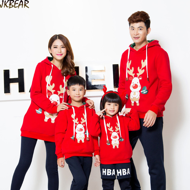 Cute Family Matching Christmas Outfits for Whole Family Adorable Rudolph  the Red Nose Reindeer Heart Pattern Hoodies S-XXL 8f4781a42