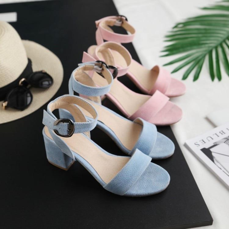 Grande taille 9 10 11-17 talons hauts sandales femmes chaussures femme été dames un mot boucles pour montrer orteil après vide