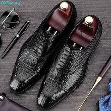 QYFCIOUFU  2019 Handmade Italy Crocodile Shoes Formal Wedding Party Male Dress Shoe Genuine Leather Mens Oxford Business