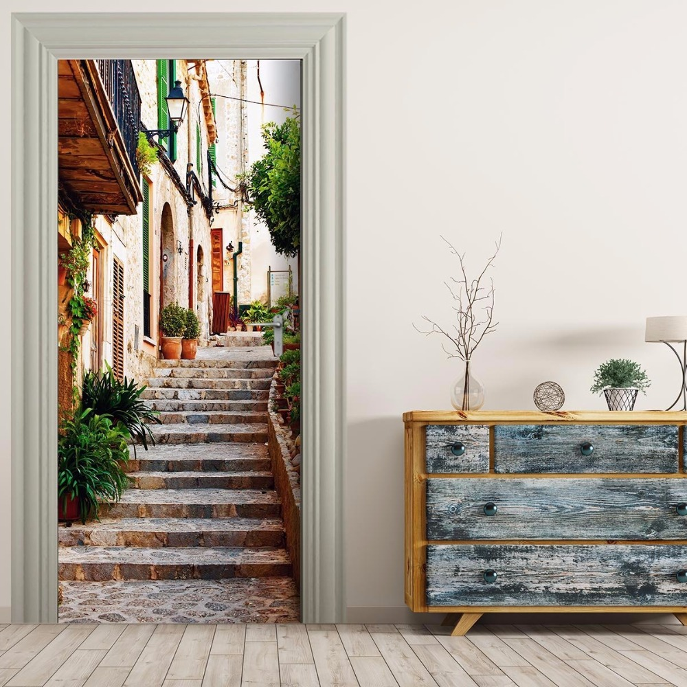 Free Shipping Home Decorators: Free Shipping 3D Village Town Door Wall Stickers Bedroom