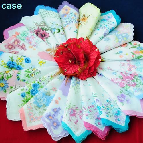 10pcs Women Girls Flower Cotton Handkerchiefs Vintage Floral Print 30x30cm Hand Towel   New Hot