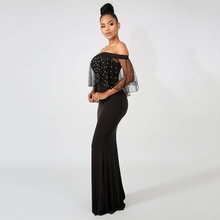 Womens Dresses Pearl Beading Mesh Sleeve Trumpet Off Shoulder Sexy Black long Dress for Party Vestido Maxi jurk zomer oversize