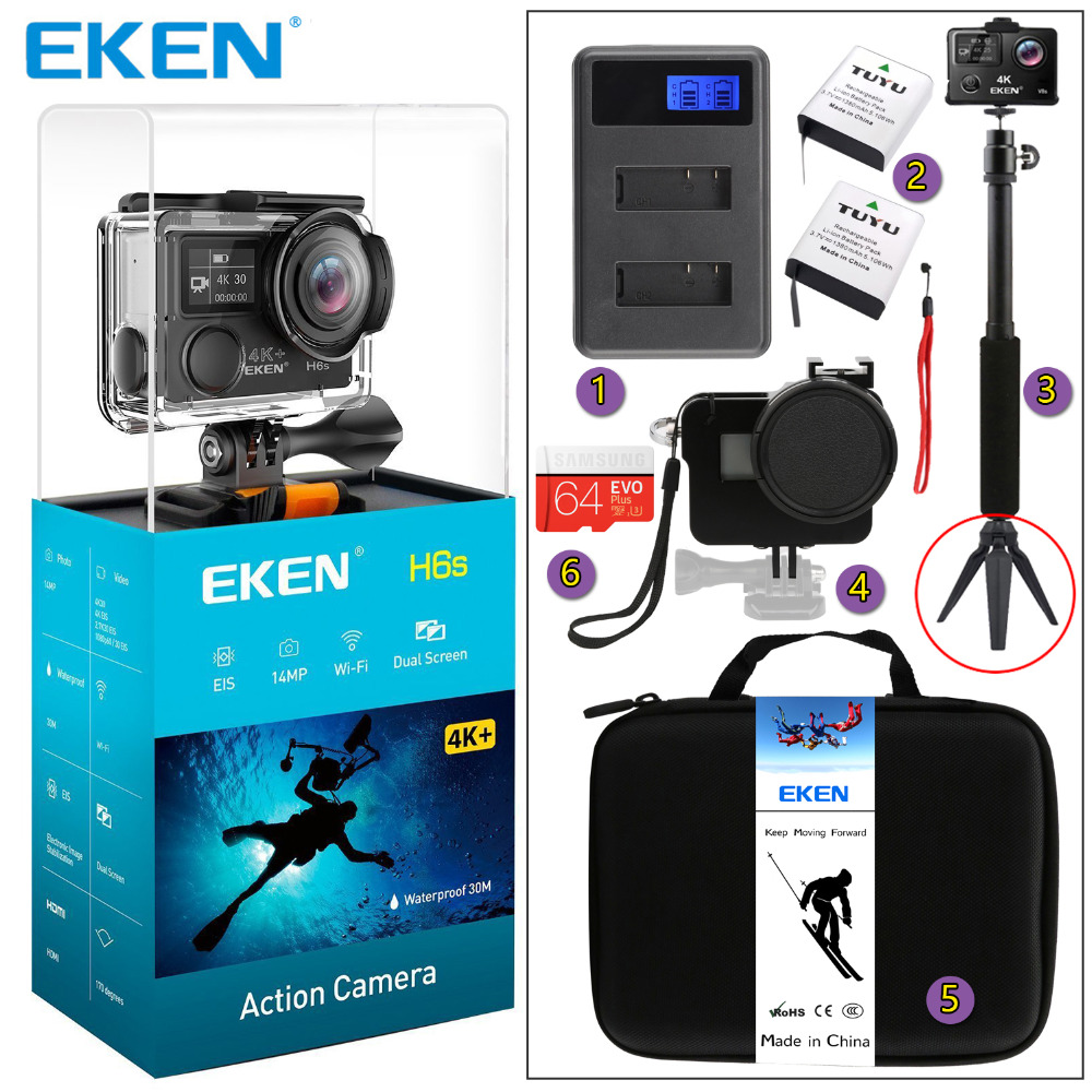 Original EKEN H6s 4K+ Utral HD 14MP with EIS Remote Sport Camcorder Ambarella A12 Chip Panasonic Sensor Wifi Waterproof Camera