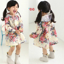 Girl Children Coat Lovely Flowers Rain Wear Baby Poncho Waterproof Kids Band Jacket