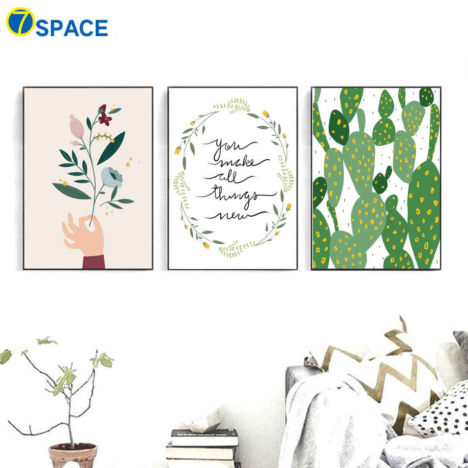 US $3 32 44% OFF|Cartoon Flower Cactus Quotes Nordic Posters And Prints  Wall Art Canvas Painting Wall Pictures For Living Room Art Print Decor-in