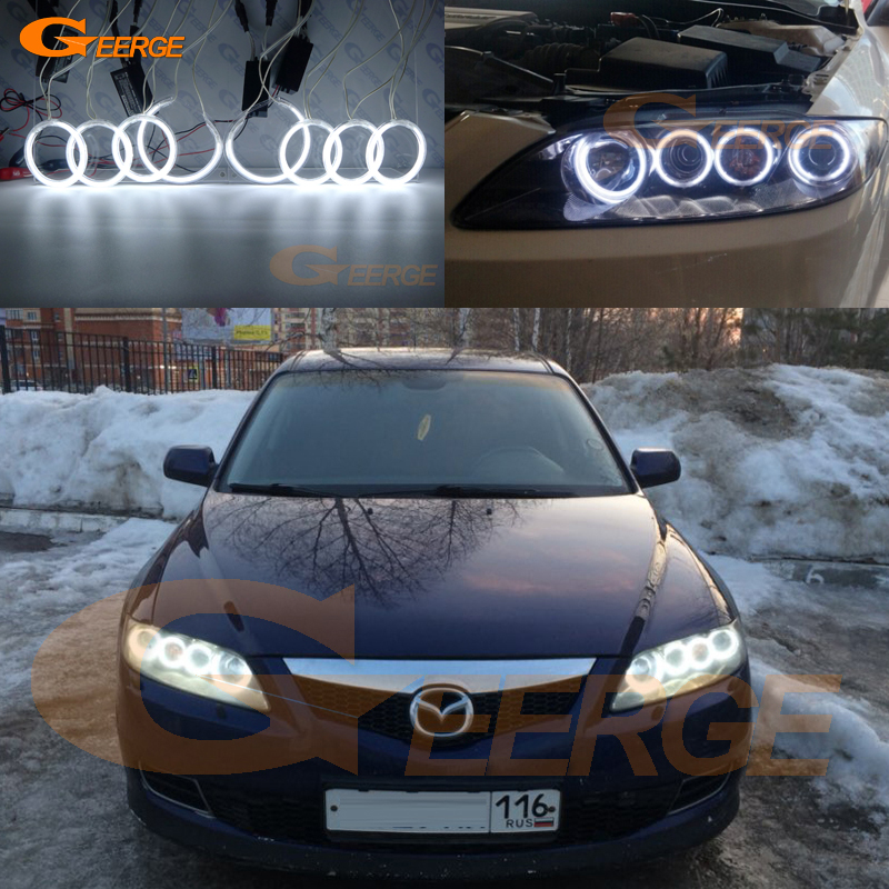 For Mazda 6 Mazda6 Mazdaspeed 6 MS6 2002-2008 Excellent 8pcs Angel Eyes Halo Ring Ultra bright illumination CCFL Angel Eyes kit купить недорого в Москве