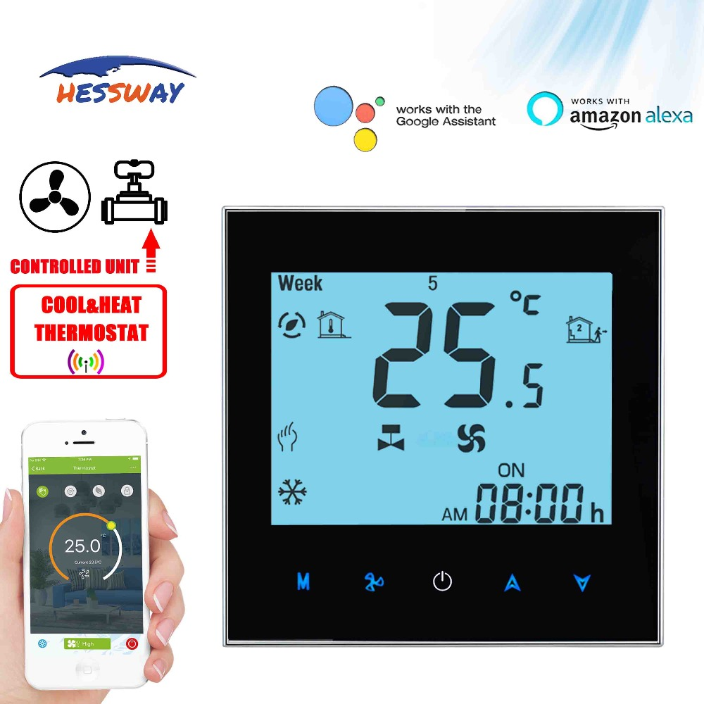 HESSWAY TUYA 2 Pipes Cooling/heating Thermostat WIFI Central Air Conditioning For 3 Speed Works With Alexa Google Home