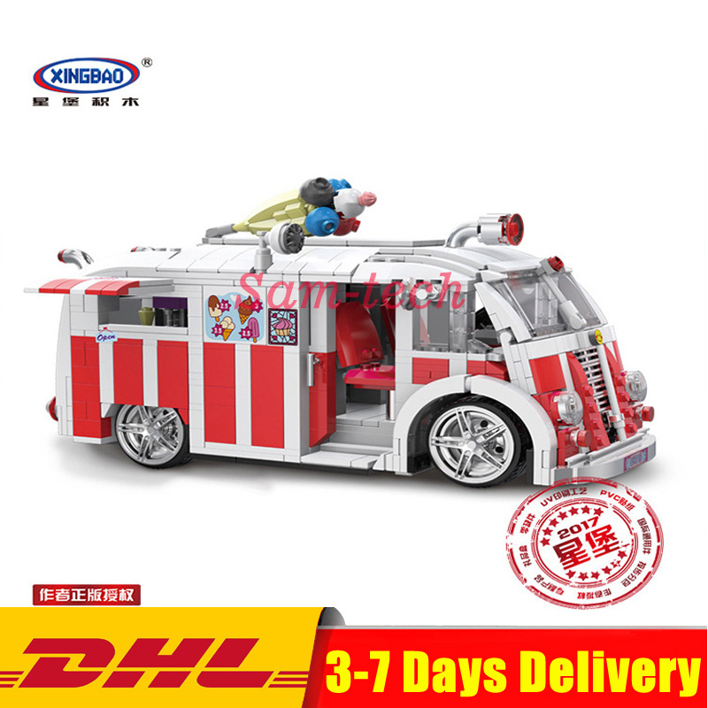 DHL Xingbao 08004 Technic Series The Ice Cream Car Set Building Blocks Bricks Model Toys for Children Compatible LegoINGlys doinbby store 21004 1158pcs with original box technic series f40 sports car model building blocks bricks 10248 children toys