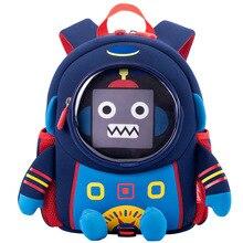 3D Space Robot Children's School Backpack Boys School Bags C