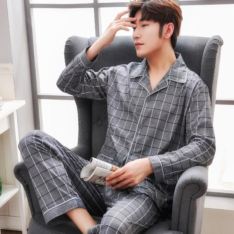 Plus Size 100% Cotton Pyjamas Men Pijamas Hombre Long-sleeve Casual Sleepwear Men Homewear Pajamas Sets For Male