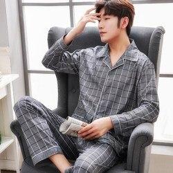 Пижамы размера плюс, 100% хлопок, мужские пижамы, hombre, с длинным рукавом, повседневная одежда для сна, Мужская домашняя одежда, пижамные компле...