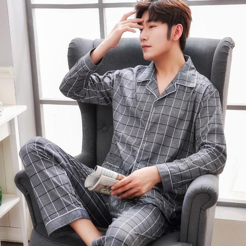 Plus Size 100% cotton pyjamas men pijamas hombre long-sleeve casual Sleepwear men homewear   pajamas     sets   for male