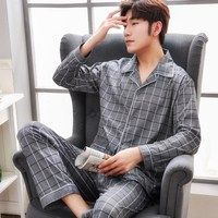Plus Size 100% cotton pyjamas men pijamas hombre long sleeve casual Sleepwear men homewear pajamas sets for male