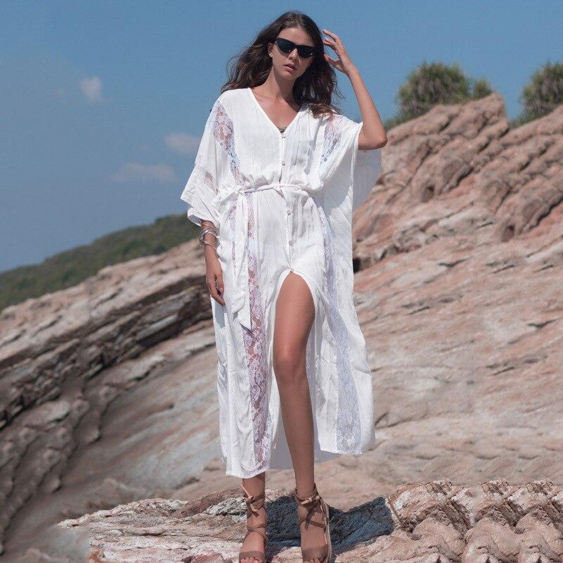 Notimer 2019 nouveau femmes Bikini cache plage Robe tunique blanc caftan Robe dentelle Beachwear évider maillot de bain cache-Up avec ceinture